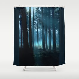 Haunted forest- winter mist in forest Shower Curtain