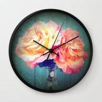 vintage flowers Wall Clocks featuring Vintage Flowers by 2sweet4words Designs