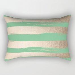 Painted Stripes Gold Tropical Green Rectangular Pillow