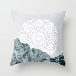 Ice Tipped Mountains Throw Pillow
