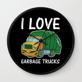 I Love Garbage Rubbish Trash Trucks Climate Earth Day Kids Eco Gift Wall Clock