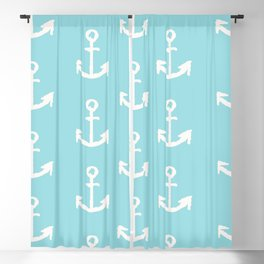 Anchor - mint blue Blackout Curtain