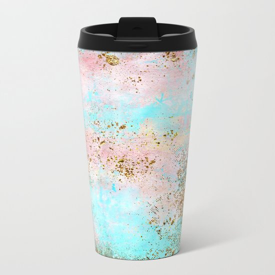 Pink and Gold Mermaid Sea Foam Glitter Metal Travel Mug