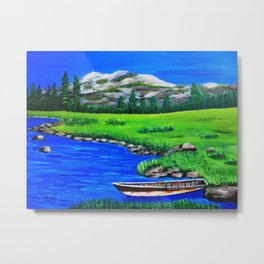 River bank with little old boat Metal Print