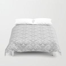 Stegosaurus Lace - White / Silver Duvet Cover