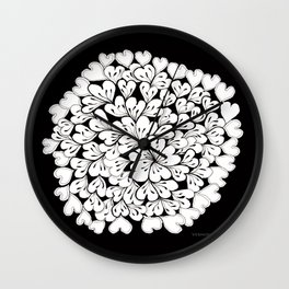 Hearts and Flowers Zentangle black and white illustration Wall Clock
