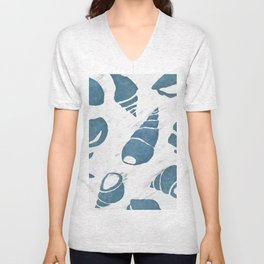 Azure South pacific sea shells - white marble Unisex V-Neck