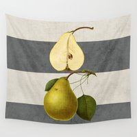 pear Wall Tapestries featuring botanical stripes - pear by her art