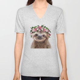 Baby Sloth With Flower Crown, Baby Animals Art Print By Synplus Unisex V-Neck