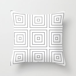 Maze Charcoal on White Throw Pillow