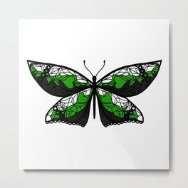 Fly With Pride: Neutrois Flag Butterfly Metal Print