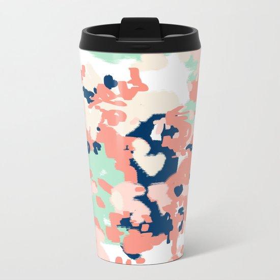 Kiela - abstract painting pattern minimal basic nursery decor home trends colorful art Metal Travel Mug