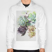 succulents Hoodies featuring Sarah's Succulents by Cassandra_Dunmyer_Art