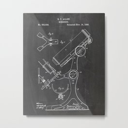 1886 Microscope Patent Drawing Metal Print