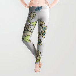 Chinoiserie Panels 3-4 Silver Gray Raw Silk - Casart Scenoiserie Collection Leggings