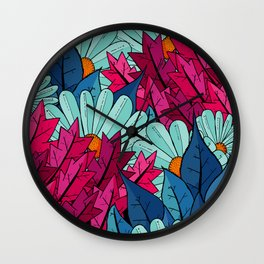The leaves and the flowers Wall Clock