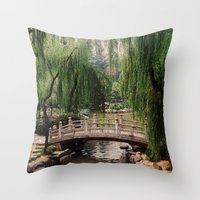 asian Throw Pillows featuring Asian Garden by MehrFarbeimLeben