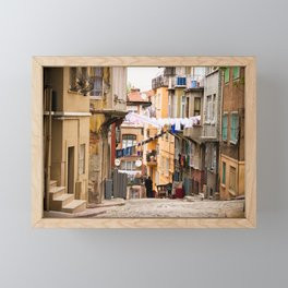 "Travel Photography ""street in inner city Istanbul, Turkey with laundry and colorful houses, in orange and pastel colors. Fine art photo print.  Framed Mini Art Print"