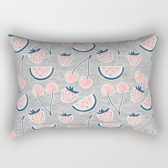 Fruit Pattern on Gray Melange Rectangular Pillow