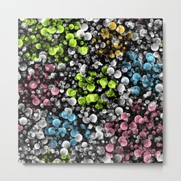 Lime Green Blue Pink Black White Retro Abstract Polka Dots Pattern Metal Print