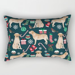 Yellow Labrador retriever christmas festive holiday gifts for dog person dog lover labrador retrieve Rectangular Pillow