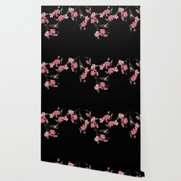 Cherry Flowers with black background Wallpaper