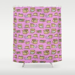 Cats in Cardboard Boxes 2 Shower Curtain