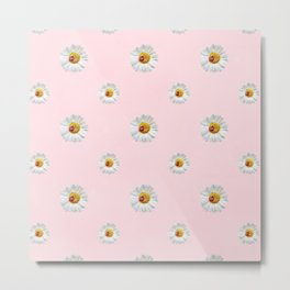 Flower Flowers Daisies in love- pink floral pattern Metal Print