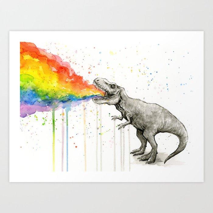 T-Rex Dinosaur Vomits Rainbow Kunstdrucke
