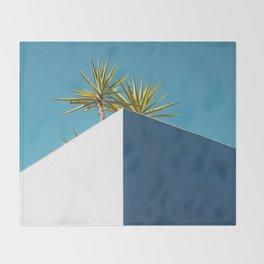 Cactus blue white Throw Blanket