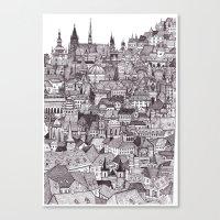 prague Canvas Prints featuring Prague by Justine Lecouffe
