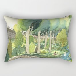 Painting By The Stream Rectangular Pillow