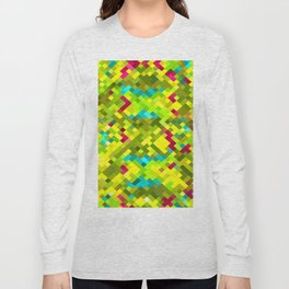square pixel pattern abstract in yellow green blue red Long Sleeve T-shirt