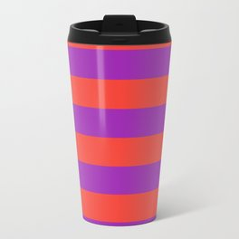 Even Horizontal Stripes, Red and Purple, L Travel Mug