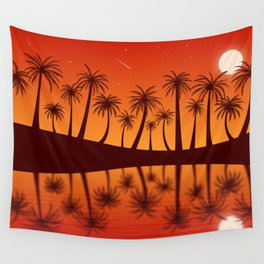 Orange Island Starry Sky Sunset Wall Tapestry