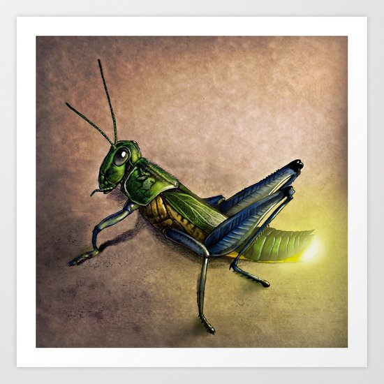 The Firefly and the Grasshopper Art Print