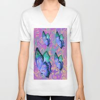 butterflies V-neck T-shirts featuring butterflies by Shea33