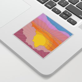 Sixties Inspired Psychedelic Sunrise Surprise Sticker