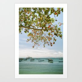 Red Tree and Boats Art Print