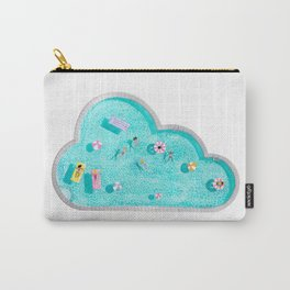 Summer swimming pool scene with sparkling water and inflatables - bright illustration Carry-All Pouch