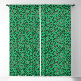 Greenery Green and Beige Leopard Spotted Animal Print Pattern Blackout Curtain