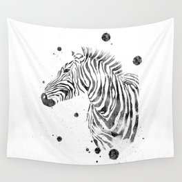 Zebra Watercolor Black and White Abstract Minimalist Wall Tapestry