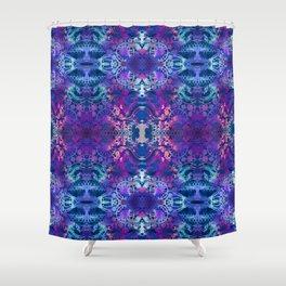 Japanese Stencil Pattern #2   Flowing Water Waterwheel Basket Weave  Blue & Purple Watercolor Shower Curtain