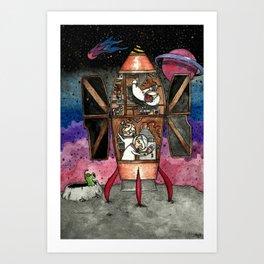 Bunnies and mole visit far-away planets Art Print