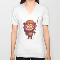 ewok V-neck T-shirts featuring Wicket the ewok by Myev
