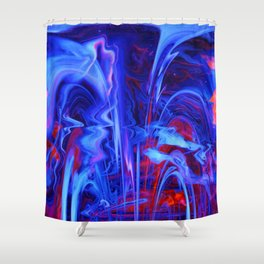 Whimsical Display of Blue Shower Curtain
