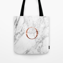 Monogram rose gold marble O Tote Bag