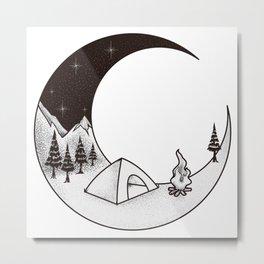 Camping Night | Outdoor Nature Starry Sky Metal Print