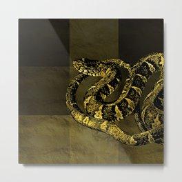 Gold and Black Snake Digital art Metal Print