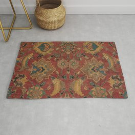 Flowery Boho Rug II // 17th Century Distressed Colorful Red Navy Blue Burlap Tan Ornate Accent Patte Rug
